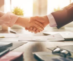 Shake Hands at work during the coronavirus pandemic